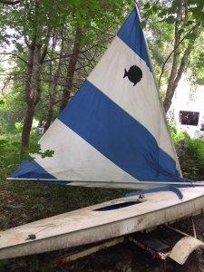 Older Sunfish sailboat